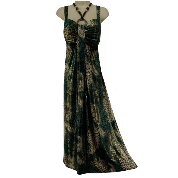 Roz & Ali Dresses & Skirts - Size 12▪️SHIMMERY SNAKESKIN PRINT MAXI DRESS